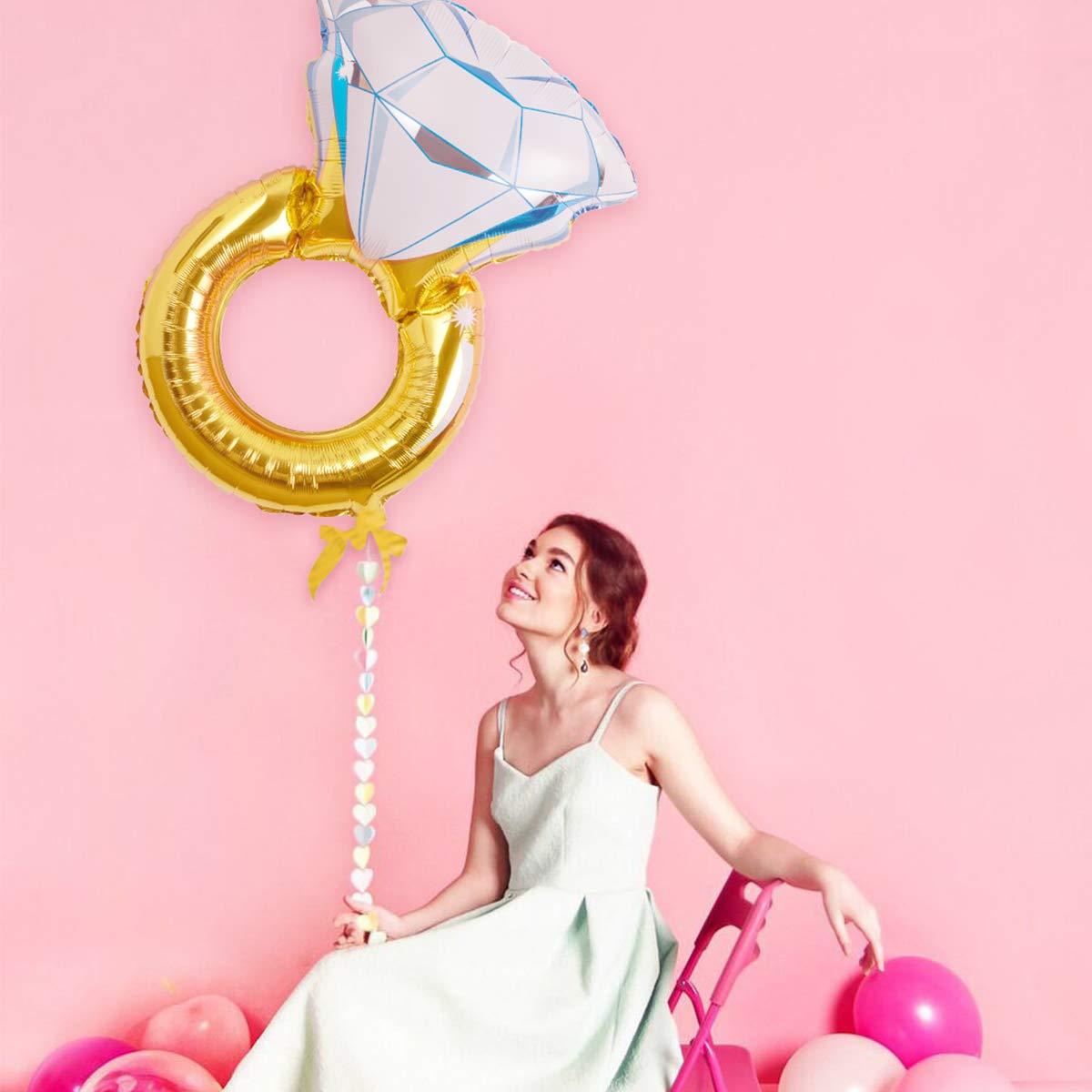 Partie de Bachelor Hivexagon Bague Diamant G/éant Ballons Alu pour Partie de Poule d/écorations de Mariage 2pcs // Set HP042 f/ête de fian/çailles Couleur dor