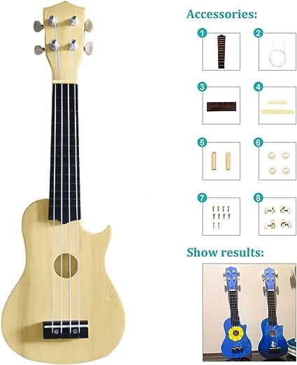 Ukulele DIY Kit 21inch Basswood 4 String Ukelele DIY Kit Instrument Accessory Ukulele DIY Kit Hawaii Ukulele Kit Make Your Own Ukulele Basswood 4 String Ukulele Set Heart