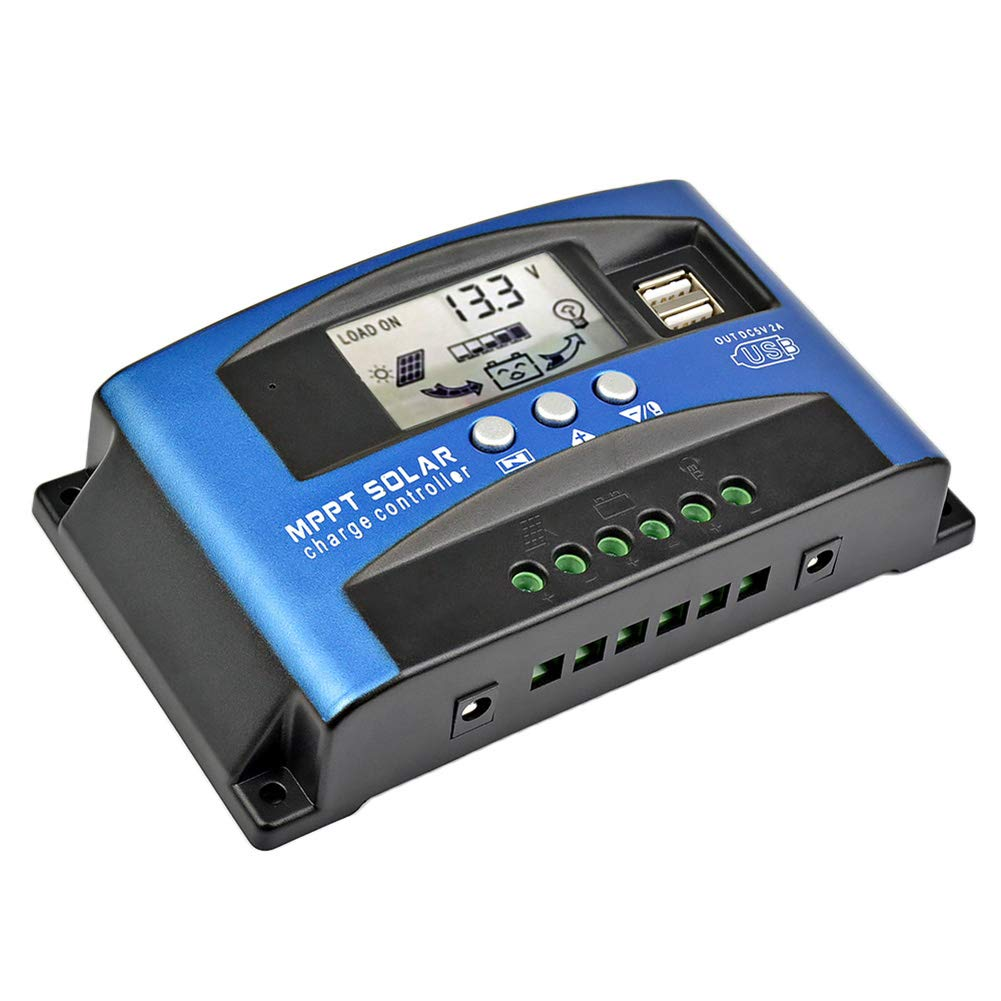 AOSHIKE MCU Solar Charge Regulator with LCD Display 60Amps, New MPPT Maximum Technical Charging Current Multiple Load Control Modes