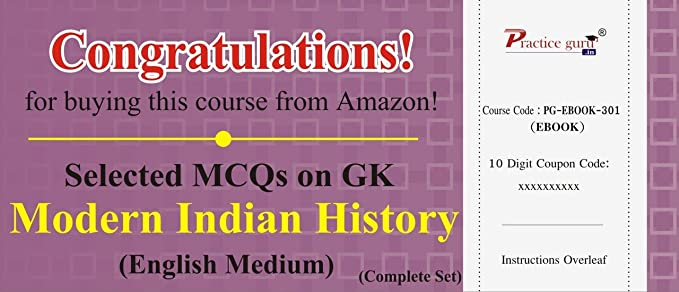 2800 Selected MCQs on GK - Modern Indian History (Complete Set