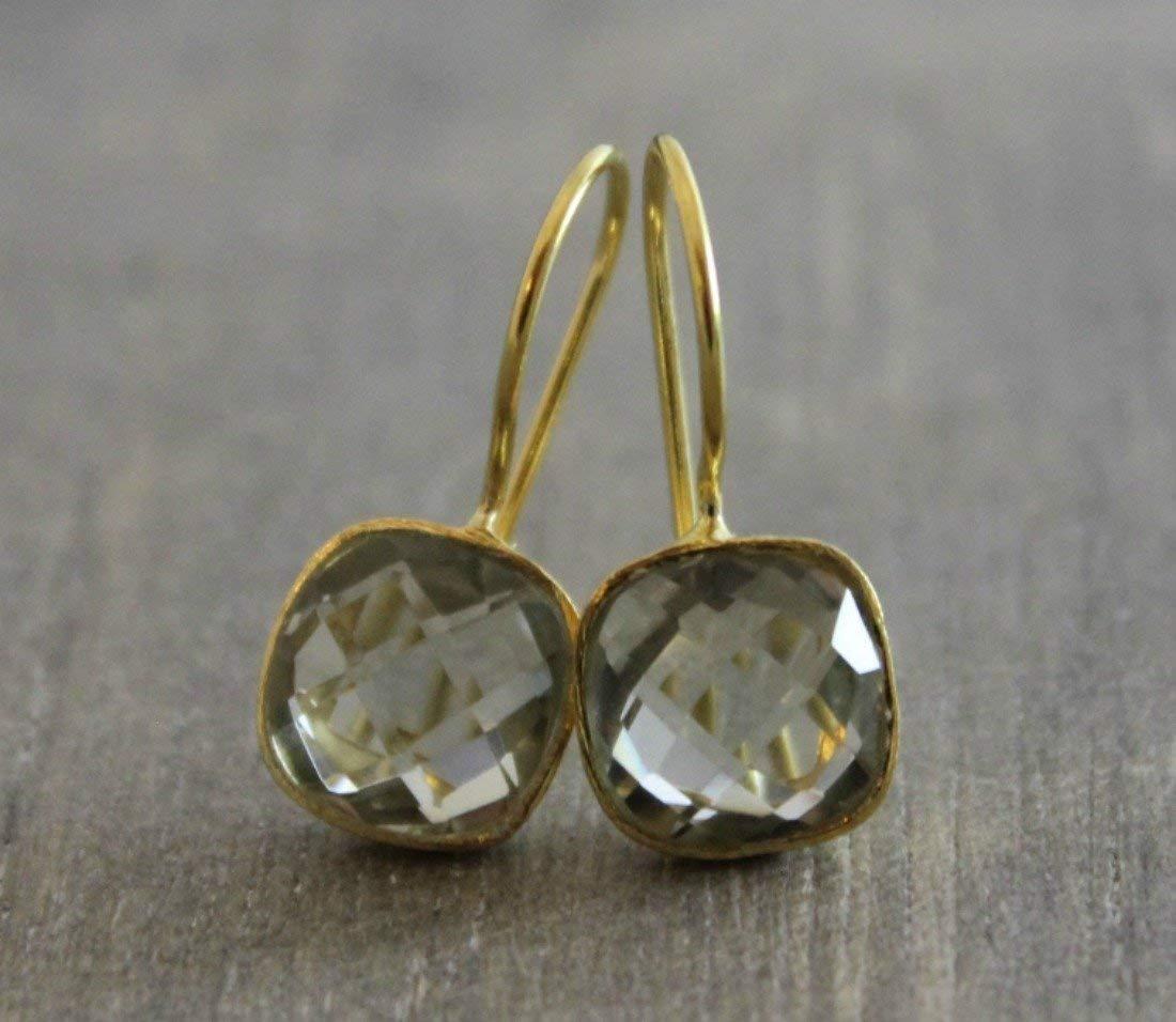Cushion Cut Prasiolite Green Amethyst Gemstone Gold Plated Earwires Earrings