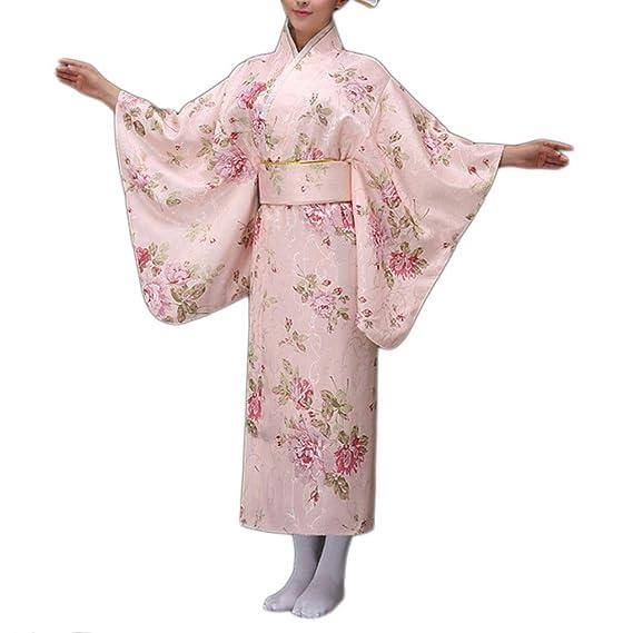 Uokoki Impresión Floral de Las Mujeres Muchacha del Kimono ...