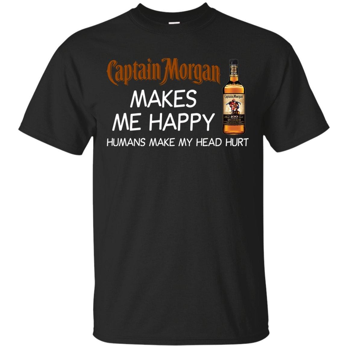 Captain Morgan Makes Me Happy Humans Make My Head Hurt Shirt