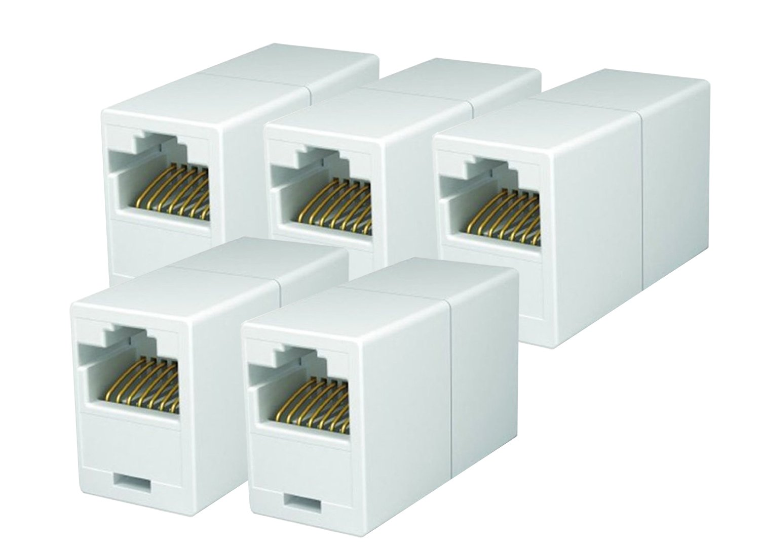 Imbaprice Rj45 Coupler Pack Of 5 Cat5e Ethernet How To Make A Category Cat 5e Patch Cable Extender Female Straight Modular Inline Computers Accessories