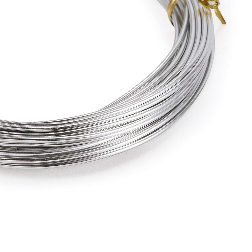 PandaHall 32.8 Feet Silver Aluminum Wire Flexible 1.5mm//15gauge Metal Artistic Beading Wire for Floral Jewelry Making