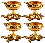 Hashcart Set of 20 Handmade Indian Puja Brass Oil Lamp - Golden Diya Lamp Engraved Design Dia with Turtle Base