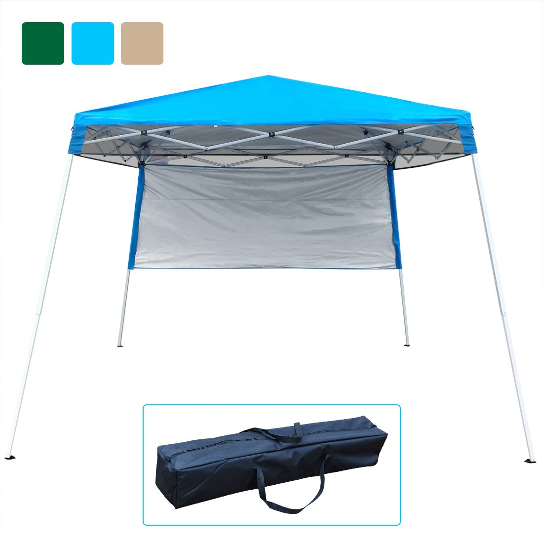 Quictent Silvox 10x10 EZ Pop Up Canopy Tent Instant Canopy Party Tent 8.7 ft height 4 Walls W/Free Carry Bag 100% Waterproof-7 Colors (Light Blue no sidewall)