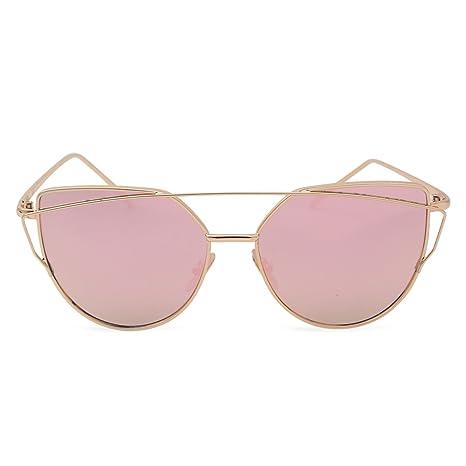 0d02c426c81f44 Lunettes de soleil pour femme - Forme œil de chat - Couleur or rose - Verres