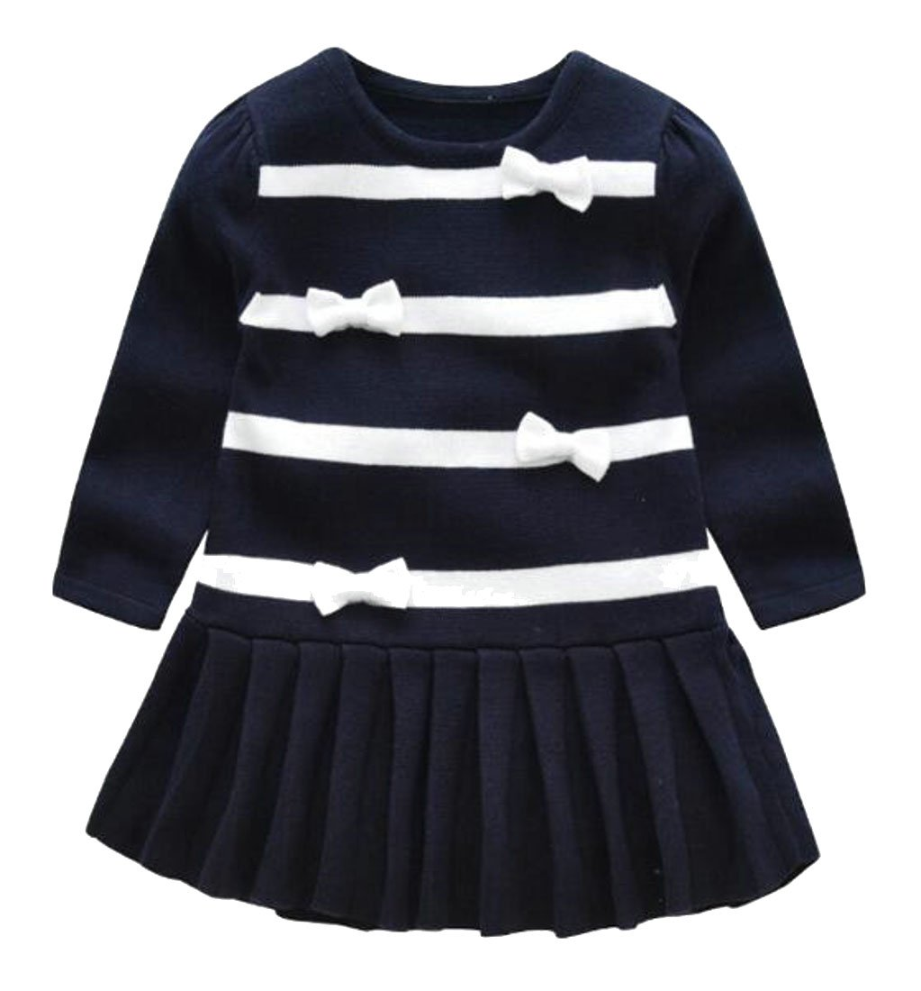 Wofupowga Girls Summer Comfort Bowknot Long Sleeve Pleated Crew Neck Knits Dress Royal Blue 5/6