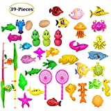 LITOON Fishing Toys Set Bath Toys Magnetic Fishing Toys, Fishing Games For Child Learning Education Toys For Kids Boys Girls Toddlers 39 PCS