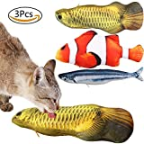 "PetsParty 11.8"" Refillable Catnip Cat Toys Interactive Chew Pillow with Zipper Large Fish Toy 3 Pack for Kitten Cats"