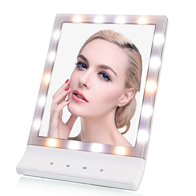 TVictory Premium Lighted Makeup Vanity Mirror with Bright LEDs, 3 Dimmable Illumination Settings(Warm/Natural/Cool Lights), 2 Power Supply Options, Wall-mounted and Countertop Options for Cosmetic