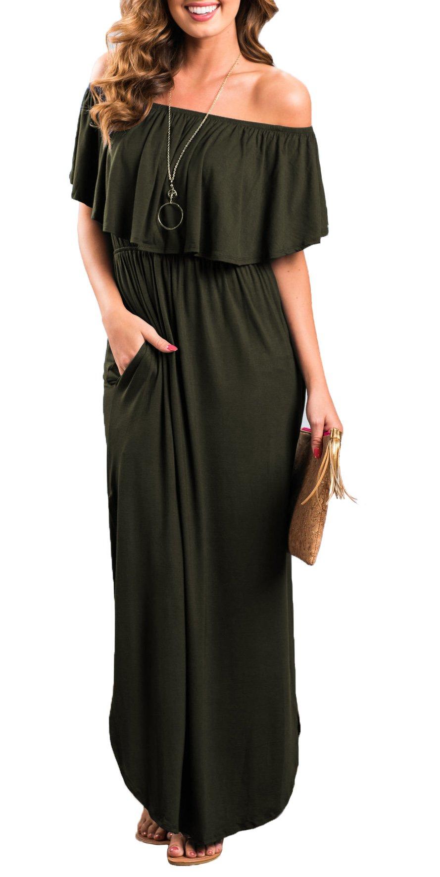Womens Off The Shoulder Ruffle Party Dresses Side Split Beach Maxi Dress Olive L