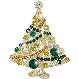 EVER FAITH Streamer Star Wishing Tree Brooch Pin Austrian Crystal