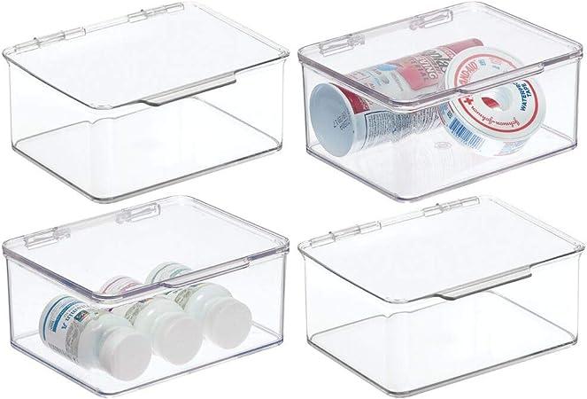 mDesign Organizador de baño apilable – Práctica Caja Transparente de plástico con Tapa – Organizador de baño para cosméticos y artículos de baño – Transparente: Amazon.es: Hogar