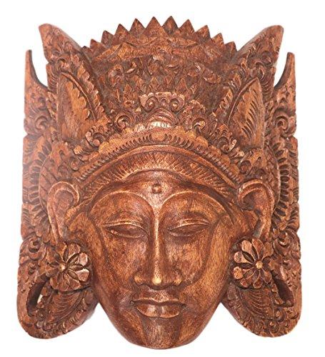 Bali Thai Imports Small Handmade Suar Wood Mask Wall Art From Bali