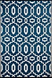 Green Decore Modern Outdoor/Reversible Eco Plastic Rug, Dark Blue/White