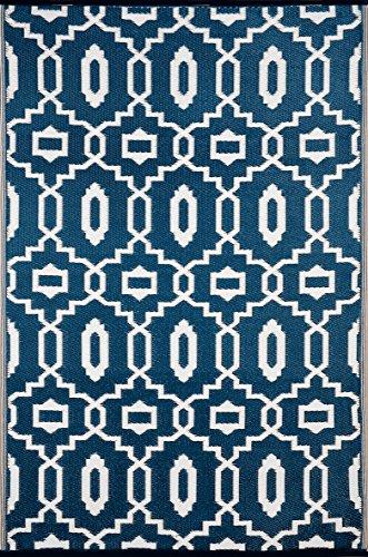 "Green Decore ""Modern Outdoor/Reversible Eco Plastic Rug, Dark Blue/White (6X9, Dark Blue/White)"