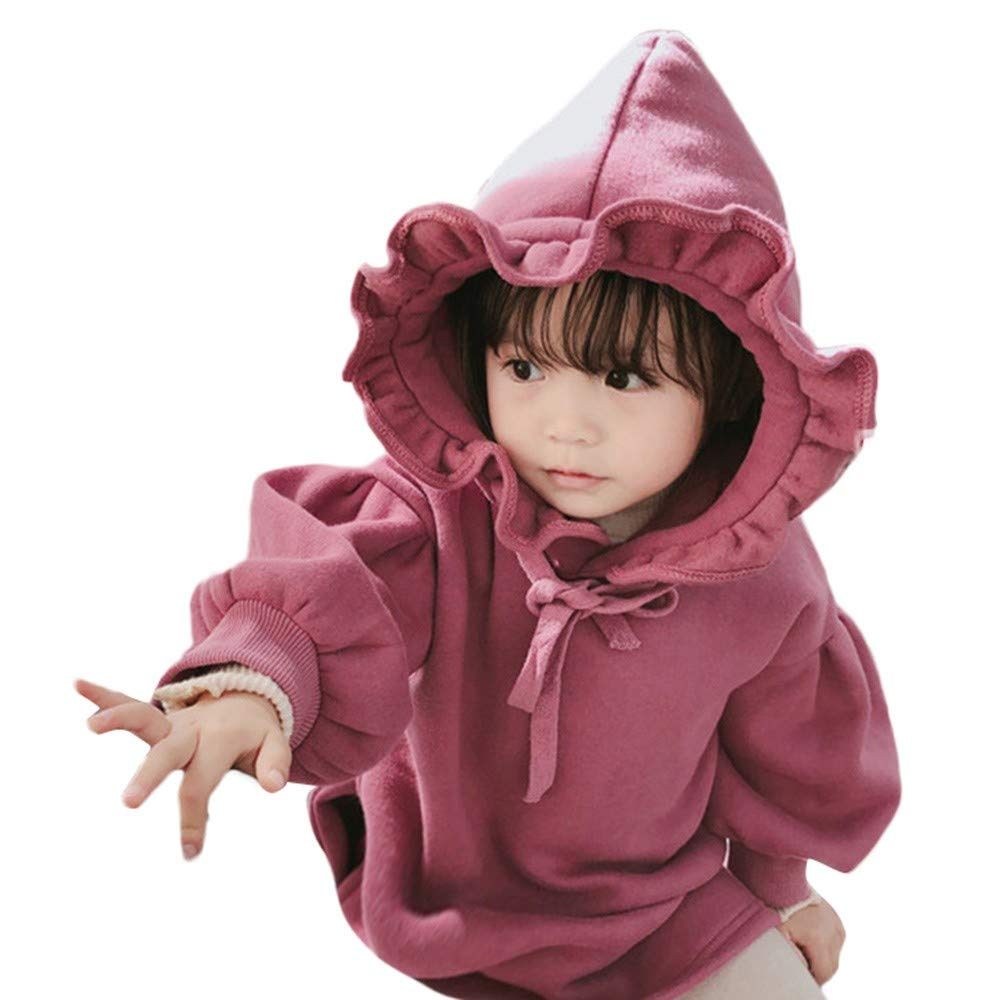 Winter Thick Outfits,Coper Toddler Baby Girls Solid Ruched Pullover Dress Coat