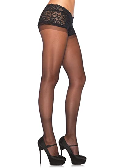 7190c88d14e Amazon.com  Leg Avenue Womens Sheer Pantyhose with Attached Lace Boyshort   Clothing