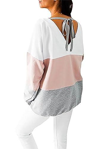 Yidarton Blusas De Mujer Camisetas Manga Larga Raya Tops Sudadera para Otoño Y Primavera