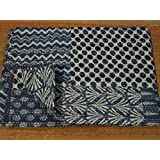 Indigo Color Hand Block Printed Kantha Quilt, Twin Size Patchwork Cotton Bedspread, Made By Tribal Asian Textiles