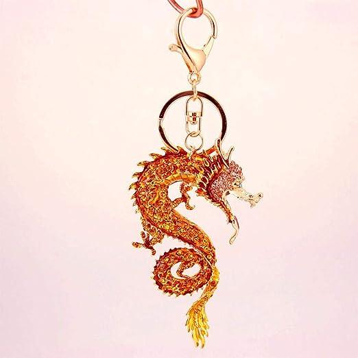 Tcaijing Llaveros Golden Dragon Clave Cadena cinc Alloy+ ...