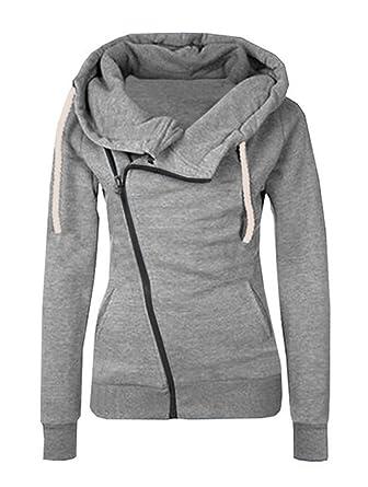 Minetom Mujeres Otoño Invierno Cuello Alto Cremallera Sudadera con Capucha Chaqueta Corto Estilo Casual Jacket Sportswear: Amazon.es: Ropa y accesorios