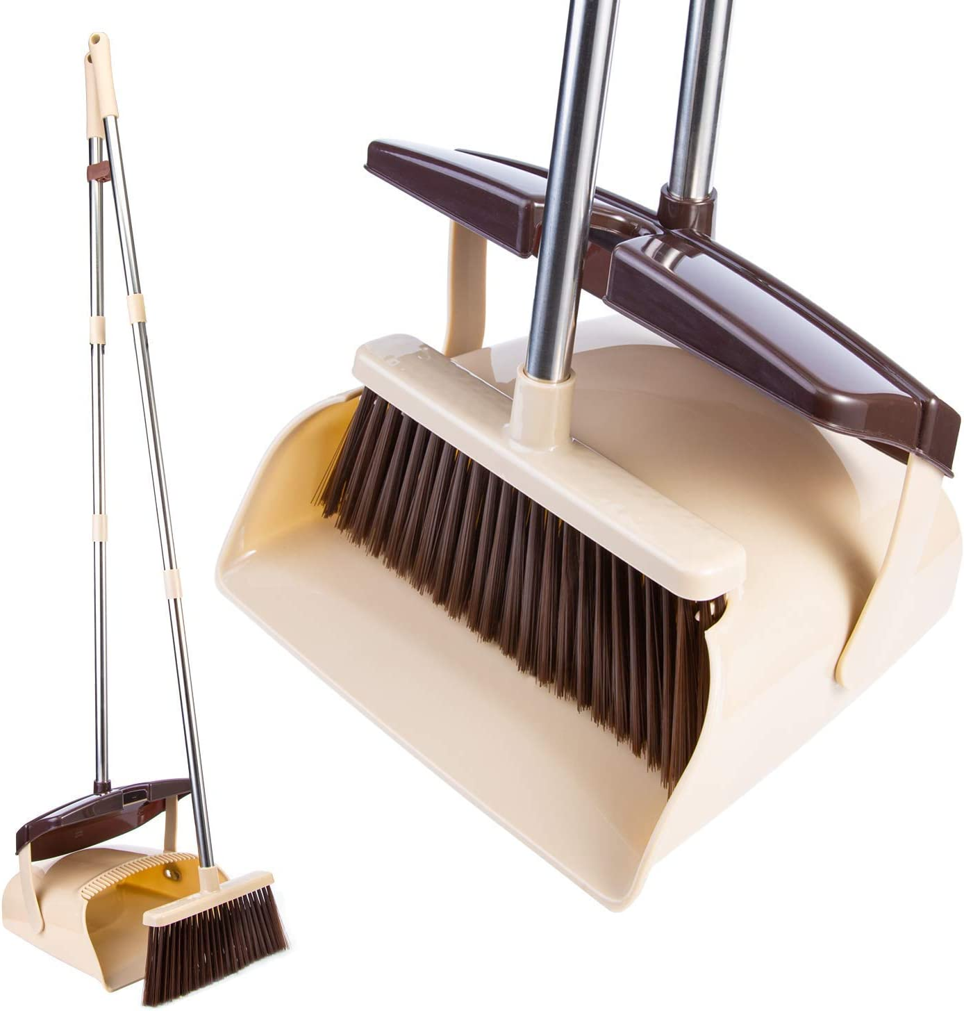 Broom and Dustpan Set with Lid Indoor Dust Pan 3 Foot Angle Heavy Push Combo Kids Garden Pet Dog Hair Wood Upright Long Stainless Steel Handle Sweeping Kitchen House Floor Room Office