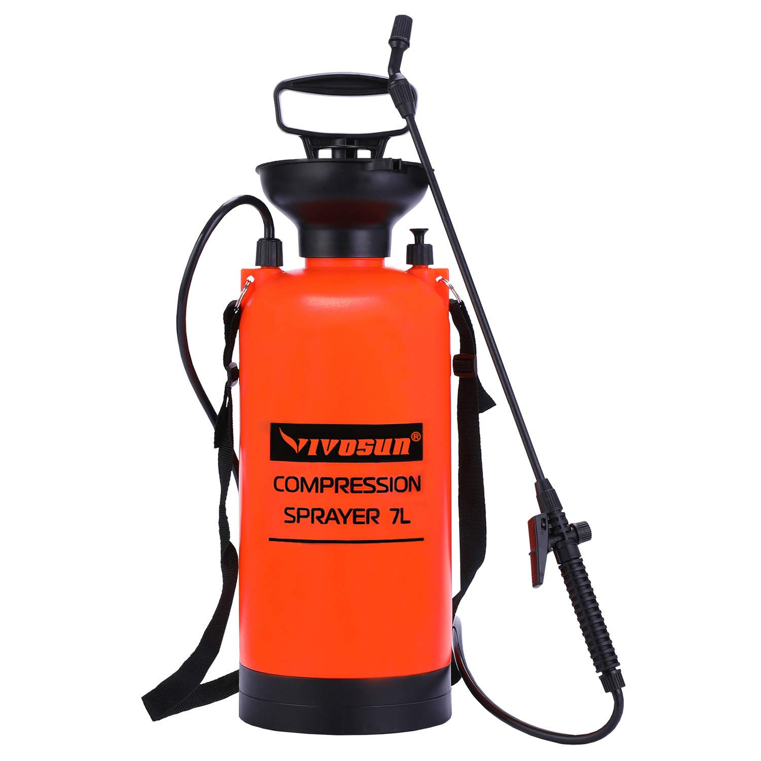 VIVOSUN 1.85 Gallon Lawn and Garden Pump Pressure Sprayer with Pressure Relief Valve, Adjustable Shoulder Strap
