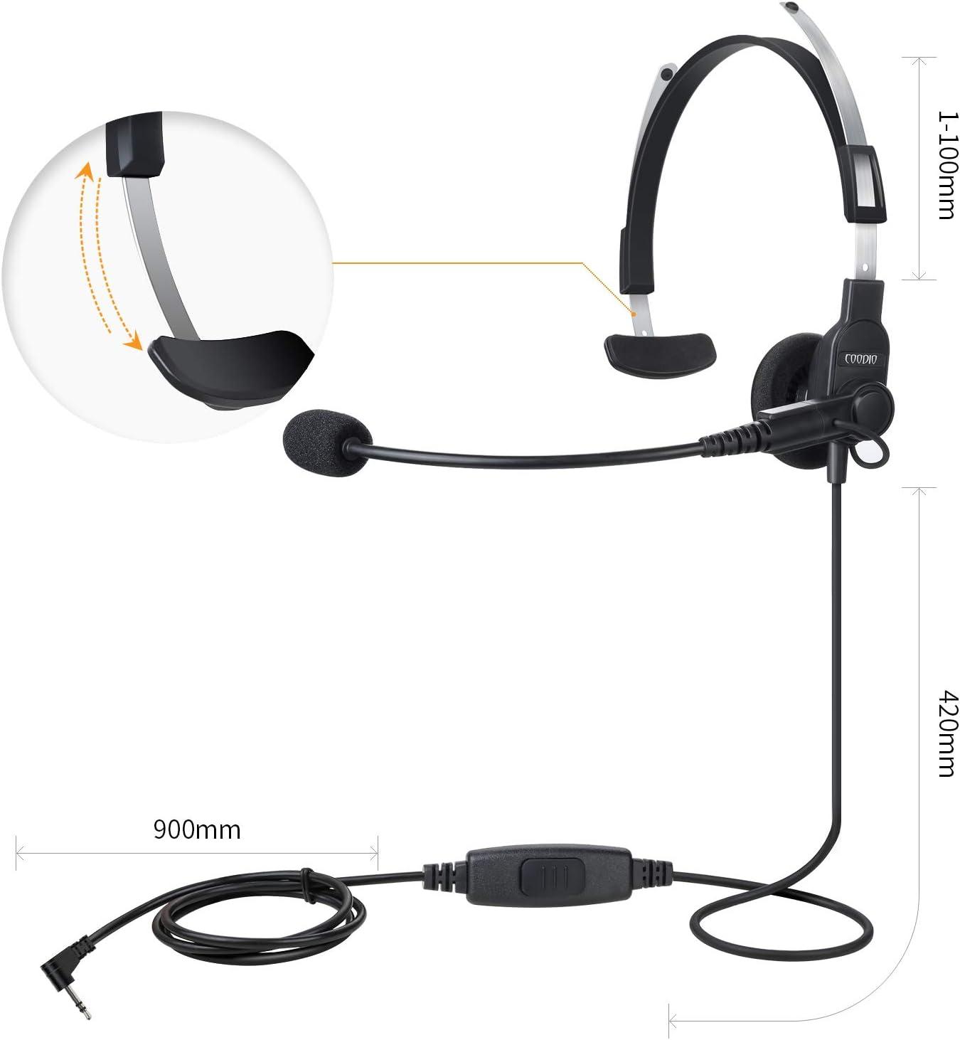 Pivotant Boom Microphone COODIO 1-Pin Motorola Oreillette Casque /Écouteur L/éger Haut-Parleur de Sup/érieur KIT Bodyguard FBI pour Motorola Talkabout Talkie Walkie