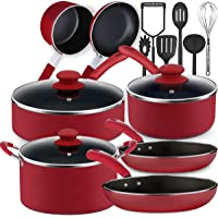Lightning Deal Pots and Pans Set, Tri-Ply Non-Stick Coating,Induction Cookware Set with Silicone Cool Handles,Dishwasher Safe, PFOA Free,Easy Clean,Utensil Sets Father's Day Gifts,Cranberry Red,16pcs