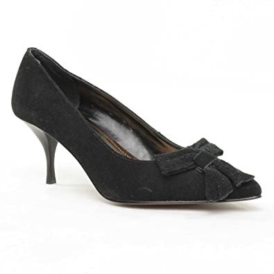 f2d974a46984 Ellen Tracy Womens Harlow Embellished Suede Pumps Black 6 Medium (B