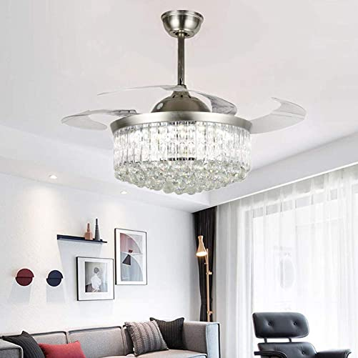 KALRI 42″ Modern Fandelier Crystal Retractable Ceiling Fan