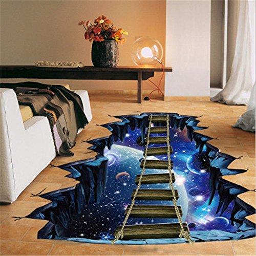 FidgetFidget Póster de Pared 3D Universe con Puente de Dibujo calcomanía para alfombras extraíble Pintura Decorativa
