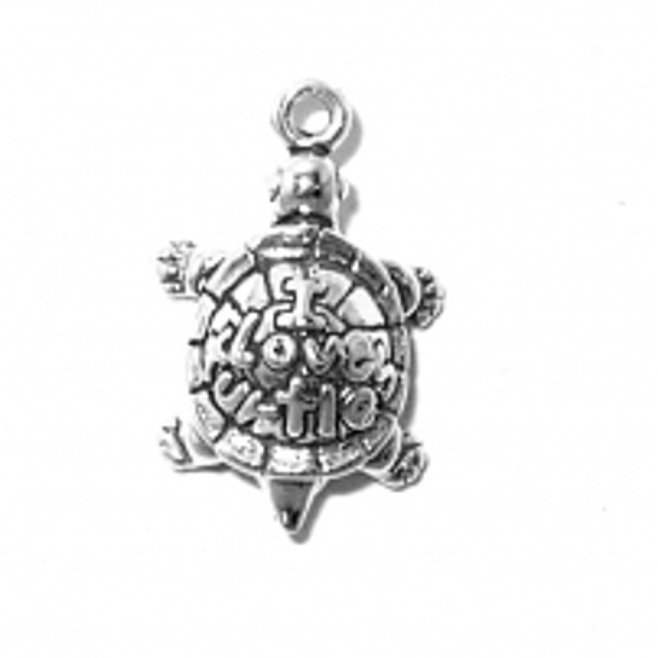 Sterling Silver 30'' Men's 1.5mm Box Chain 3D I Love Turtles Turtle Animal Pendant Necklace