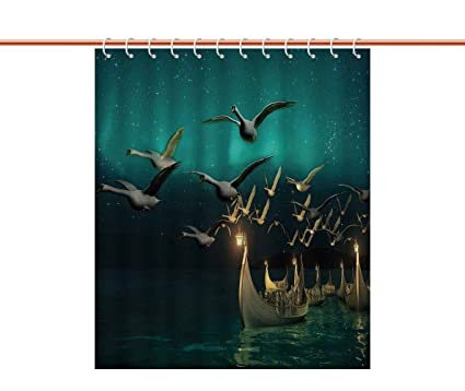 IPrint Decorative Shower Curtain FantasyMedieval Elf Boats And Magical Birds Swans Flying Mystical