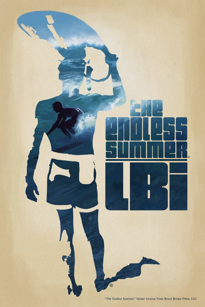Lbi – The Endless Summer – サーファーCutoutシーン 36 x 54 Giclee Print LANT-52009-36x54 36 x 54 Giclee Print  B017EA0EFO