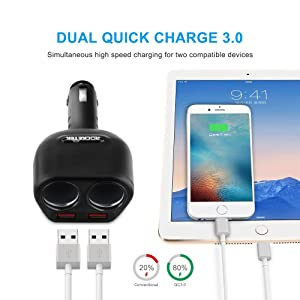 Rocketek Dual USB Quick Charge 3.0 Car Charger Adapter with Build-in 2 Way Car Splitter Adapter, 90W 12V/24V DC Outlet 2-Socket Car Cigarette Lighter for iphone/ipad/android cell phone, GPS, Car DVD (Color: RT-CC22QCF)
