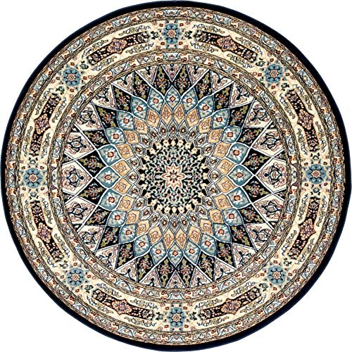 Unique Loom Narenj Collection Classic Traditional Medallion Textured Navy Blue Round Rug (5' 0 x 5' 0)