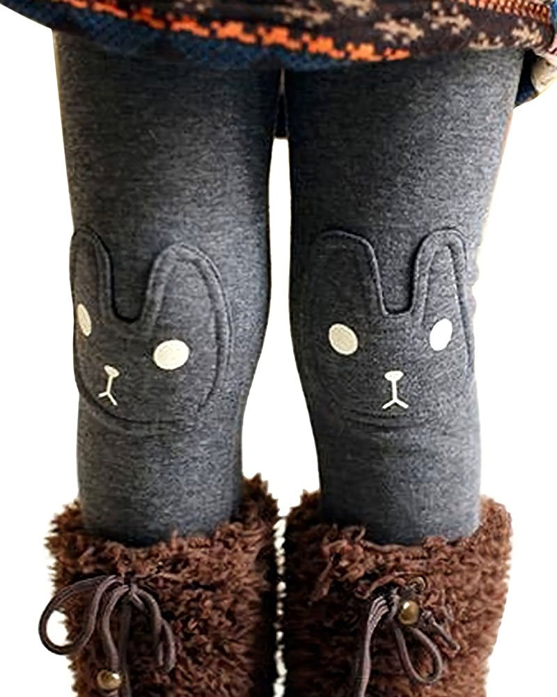 Kids Girls Winter Leggings Bunny Printed Thick Warm Fleece Pants for 2-7 Years Ash Black,120/4-5 Years