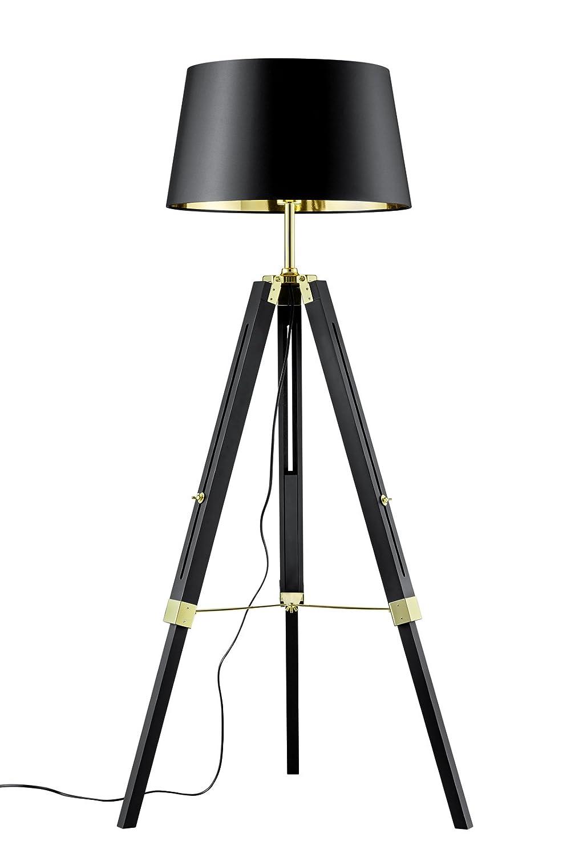 Trio Leuchten Stehleuchte, Metall, E27, Schwarz Goldfarbig, Goldfarbig, Goldfarbig, 80 x 80 x 150 cm b7dd25