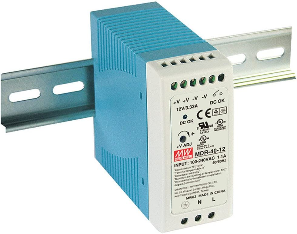 Mean Well USA MDR-40-12 Power Supply; AC-DC; 12V@3.33A; 100-264V In; Enclosed; DIN Rail Mount; PFC; MDR Series
