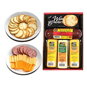 WISCONSIN'S BEST and WISCONSIN CHEESE COMPANY 100% Wisconsin Cheddar Cheese and Pepper Jack Cheese, Summer Sausage, Cheese and Cracker. Best Christmas Gift for this Holiday Season. Amazon Prime