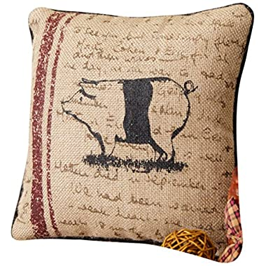 Your Hearts Delight Pig Farm Life Pillow, 10-Inch
