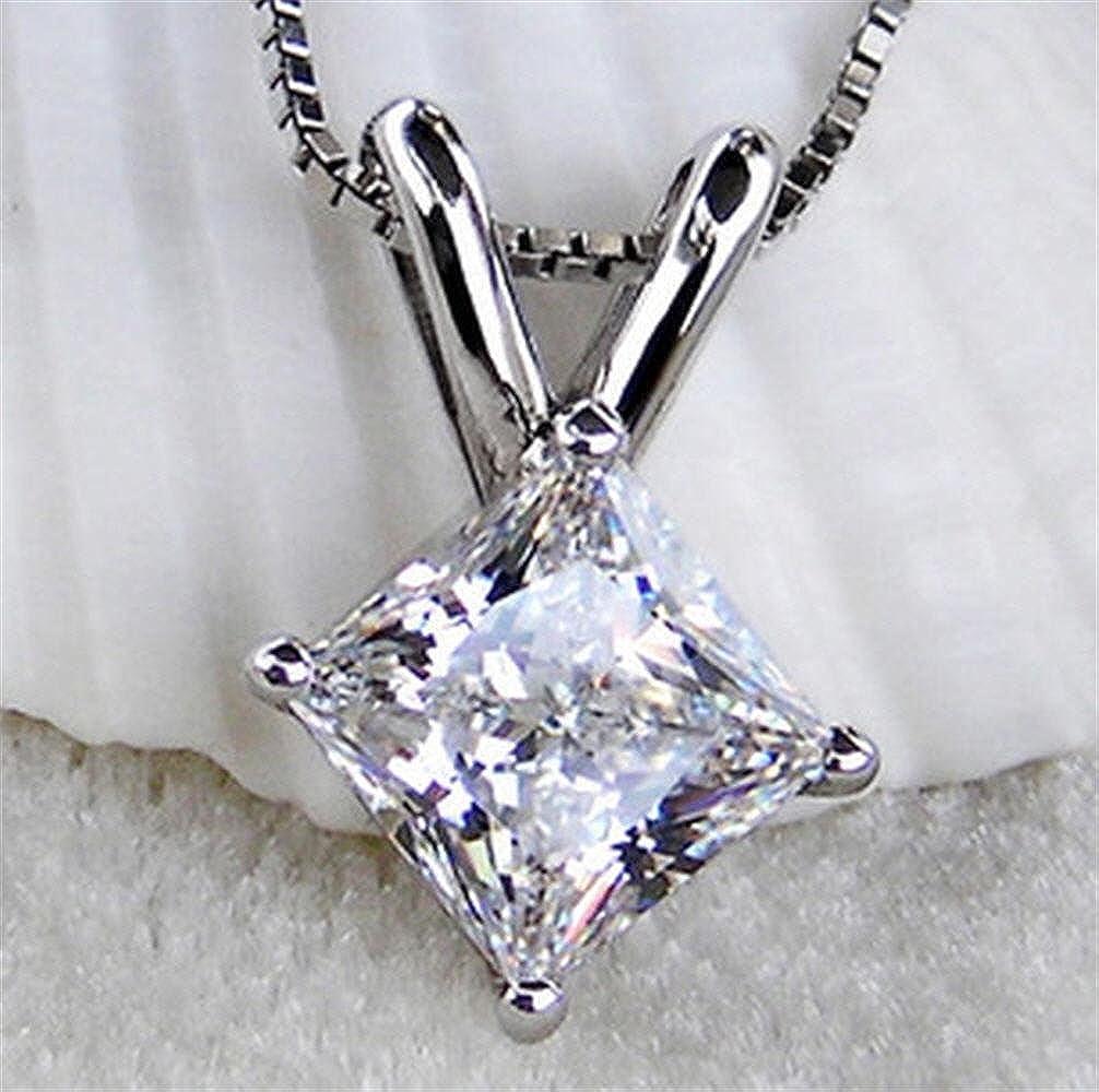RussianHeartsDiamonds.com Venetia TOP Grade 2 Carat Supreme Realistic Princess Cut NSCD Simulated Diamond Pendant Necklace cz Cubic Zirconia