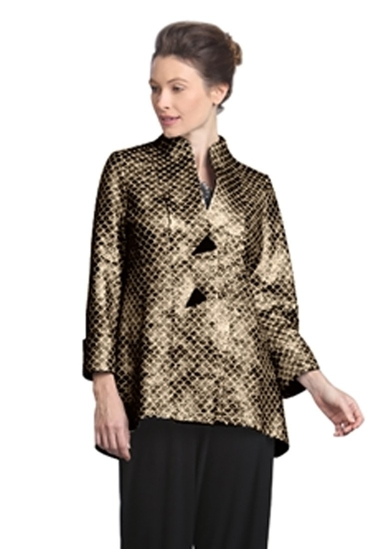 IC Collection Asian Style Mandarin Collar Two Button Bronze Jacket Cuff Sleeve by IC Collection