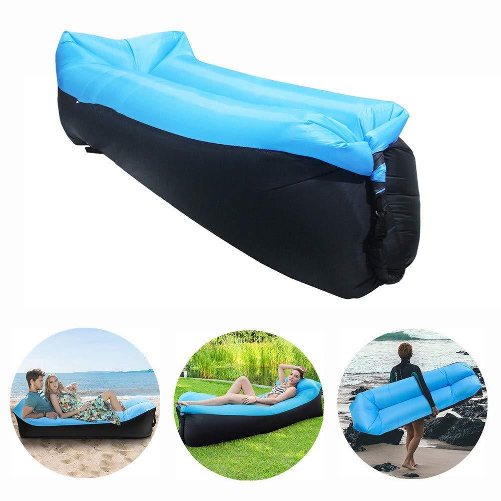 Colchoneta de Inflado Rapido con Aire del Viento para Camping Piscina Playa Azul