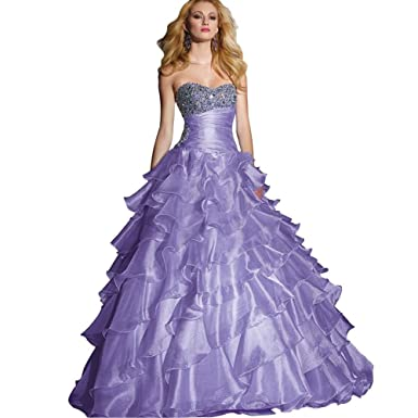 GEORGE BRIDE Lilac Ball Gown Sweetheart Floor-Length Organza Prom Dress With Beaded Appliques Size