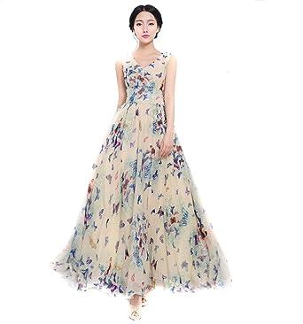 ec245a9aae4 EJY Femme - Mousseline de Soie Bohême - Plage habille - Papillon Impression- Robe Longue